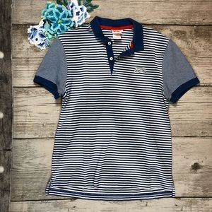 Lacoste Live Blue & White Striped Polo Shirt